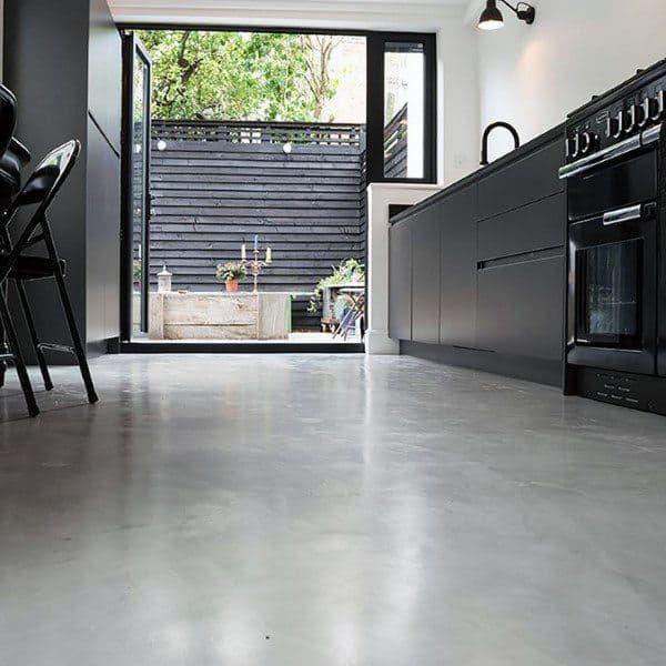 Top 50 Best Concrete Floor Ideas Smooth Flooring Interior Designs In 2020 Concrete Kitchen Floor Concrete Kitchen House Flooring