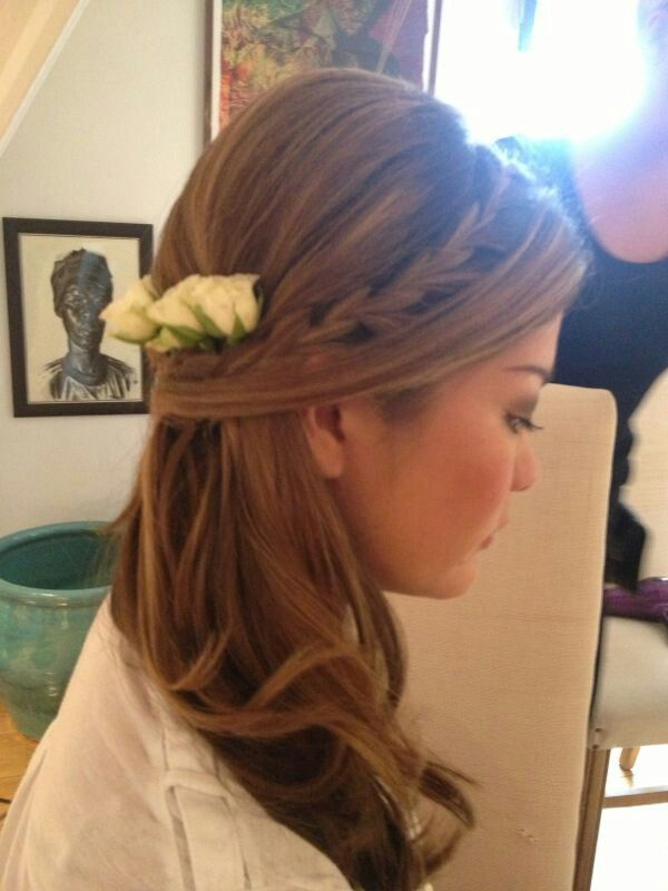 Perfect for a soft bridesmaid look. Half up to one side with soft plait. Styled by Roxy Farrier