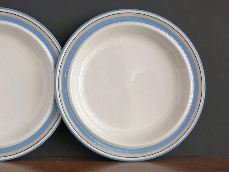 Arabia Finland Uhtua Dinner Plates - Two Arabia Uhtua Dinner Plates - Inkeri Leivo Design - 1980s Arabia Plates - Scandinavian Dinnerware by EightMileVintage on Etsy