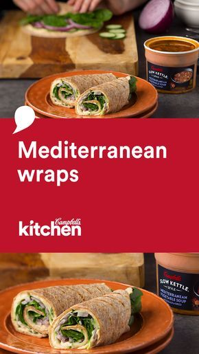 A quick meal doesn't have to be bad for you.  These Mediterranean Wraps are loaded with good things like hummus and veggies and all wrapped up in a whole grain tortilla. Plus, this recipe pairs perfectly with our Campbell's® Slow Kettle® Mediterranean Vegetable Soup with Kale and Orzo.