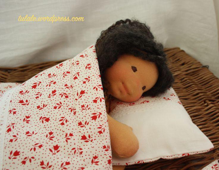 "Sleeping Lily - 13"" natural rag doll"