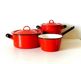 Red cooking pots, red enamel pots, european enamelware, set of cooking pots