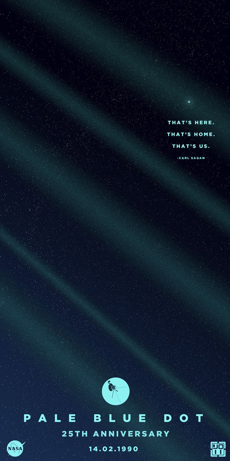 """A poster celebrating the 25th anniversary of Voyager 1's """"Pale Blue Dot""""…"""