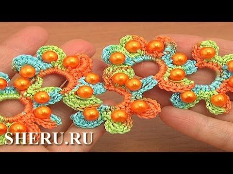 Beaded Crochet Lace Tape Tutorial 17 Part 1 of 2 Free Patterns - YouTube