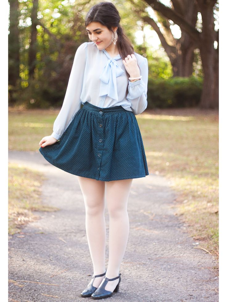 If you scored your dream winternship, it's important to find the perfect combo of cute and professional for your first-day outfit. A bow blouse, high-waisted skirt, and short heels are a foolproof look! Don't forget tights—even if it's warmer where you live, it's best to cover your legs until you see how others in the office are dressed. Steal Her Style:Chiffon Secretary Blouse, $60, americanapparel.netCooperative Library Button-Front Mini Skirt, $49, urbanoutfitters.comCool As A Cucumber…