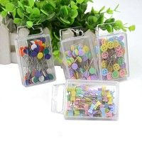 Wish   100Pcs Patchwork Craft Flower Button Head Pins Quilting Tool Sewing Accessories GOR Sales promotion