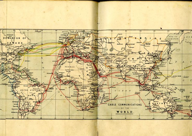 World communications telegraph map, 1904. IET Archives ref. NAEST 005. #hisSTEM #oldmaps
