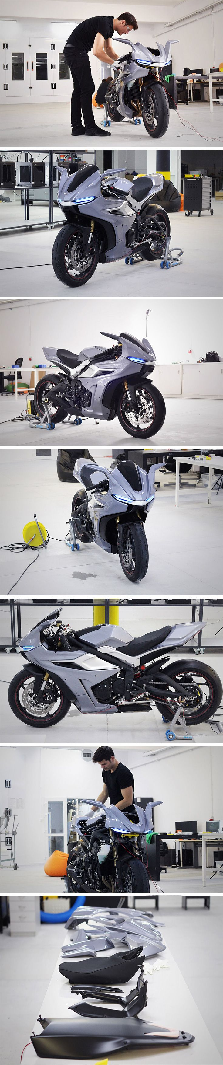 A total of 156 printed items were used to transform an existing motorcycle into an uber-aggressive and stylish street bike! From the front tip to the tank and tail, it's clad with super-sleek 3D printed fairings made using state-of-the-art FDM technology. Not only an aesthetic improvement, the lightweight paneling offers enhanced aerodynamics for this track-ready racer.