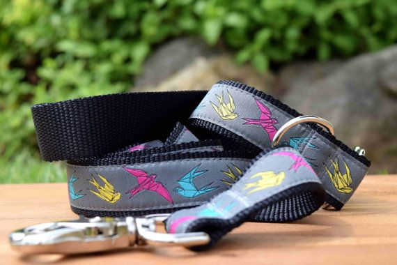 Origami Birds dog leash Japanese Crane Dog Lead by DelaheyandCo