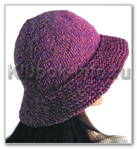 Вязание спицами. Меланжевая шляпка с полями. Размеры 56-58