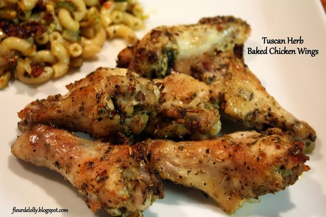 Fleur de Lolly: Wing Wednesday: Tuscan Herb Baked Chicken Wings. No heavy batter or frying here.  These baked wings are tender and delicious.