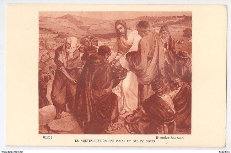 """Carte Postale Ancienne """"LA MULTIPLICATION DES PAINS ET DES POISSONS"""" - RIEUNIER-ROUZAUD Salon de Paris - France."""