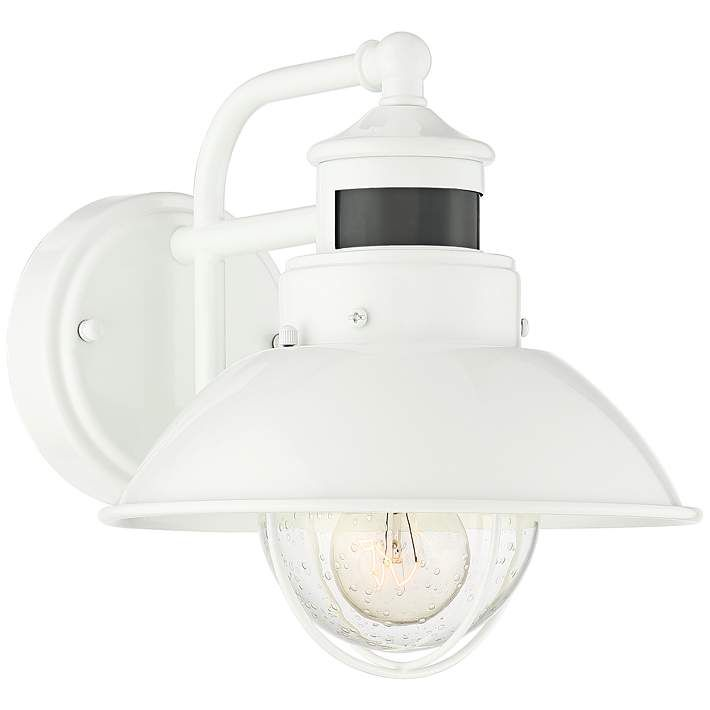 Oberlin 9 H White Dusk To Dawn Motion Sensor Outdoor Light 64m53 Lamps Plus In 2021 Barn Light Fixtures White Light Fixture Outdoor Wall Light Fixtures White motion sensor outdoor light
