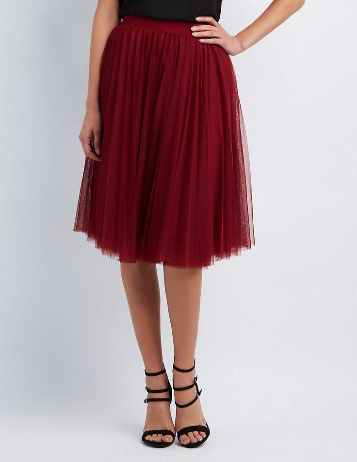 burgundy maroon Tulle Full Midi Skirt | Charlotte Russe