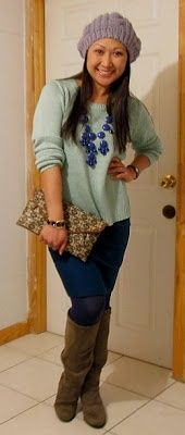 153 mint sweater   teal pencil skirt   boots   bubble necklace