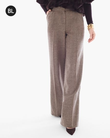 "English heritage meets modern allure in these flawless tweed trousers with a wide-leg silhouette.   Individual style. Clean, modern lines. The Exclusive Black Label by Chico's™ collection.   Zip & hook-and-bar closure.   Hip pockets.   Front pleats.   Rise sits just below the natural waist.   Inseam: 31.5"".   Polyester, wool.   Machine wash. Imported."