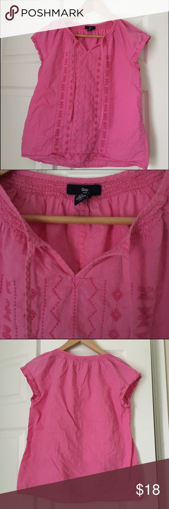Gap pink embroidered short sleeved top Cute top, purchased from gap outlet. Slight wash wear, pls excuse the wrinkles. GAP Tops Blouses