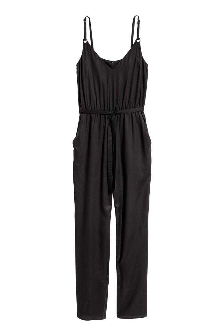 V-neck jumpsuit - Black - Ladies   H&M GB