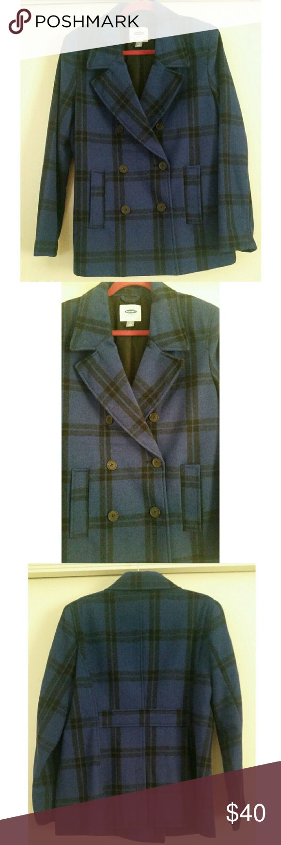 """Old Navy blue black plaid peacoat, size L Old Navy blue black plaid peacoat, size L, tags removed but never worn because i lost weight. Perfect condition! 27"""" length. Old Navy Jackets & Coats Pea Coats"""