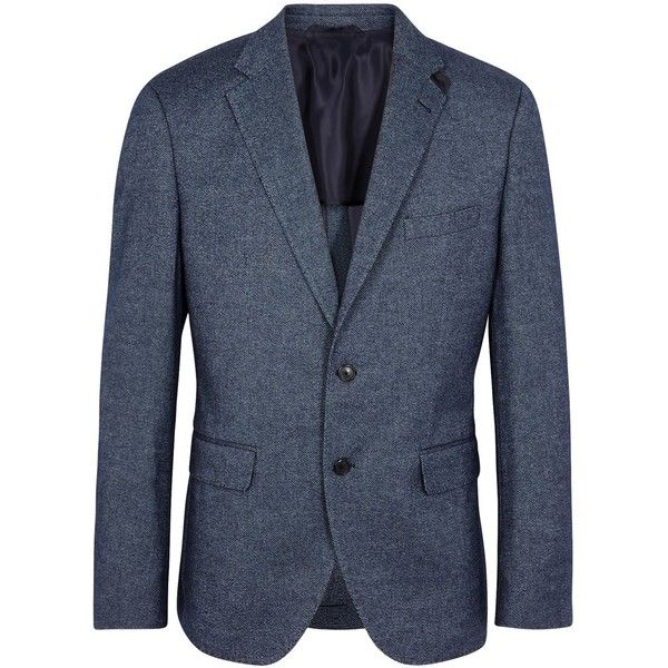 HUGO BOSS BLACK Jestor Blue Wool Blend Jacket - Size 38 ($530) ❤ liked on Polyvore featuring men's fashion, men's clothing, men's outerwear, men's jackets, mens blue jacket and mens faux leather jacket