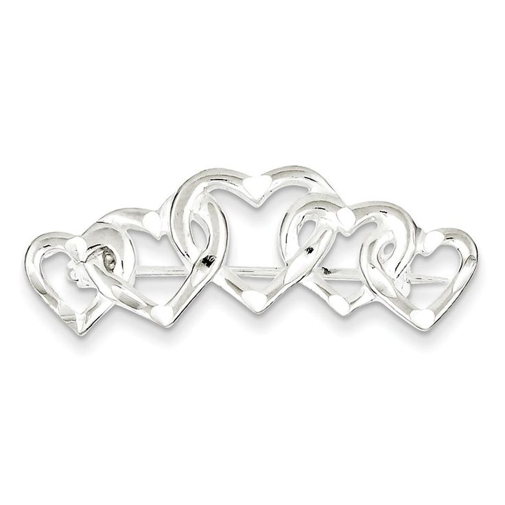 Sterling Silver Satin Finish Diamond-Cut Five Heart Pin *** To view further for this item, visit the image link. (This is an Amazon Affiliate link and I receive a commission for the sales)