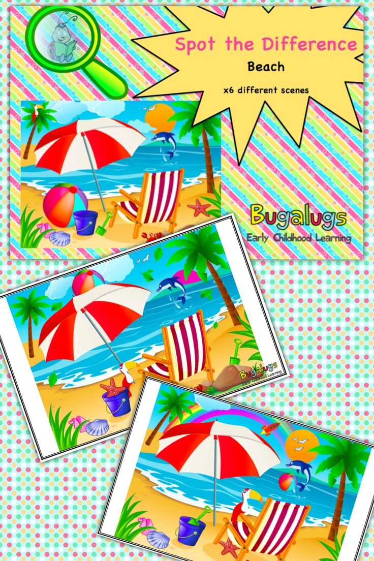 6 Beautifully Illustrated Scenes Of A Beach With Differences Including;   Location Of Objects (