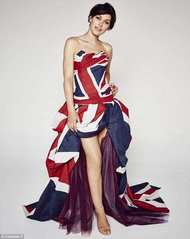 Endless legs: Emma Willis, 39, flashed her figure in a Union Jack printed dress in promoti...
