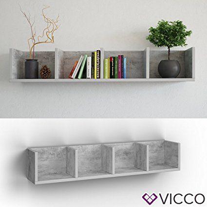 VICCO Wandregal 90 cm Beton - für CD DVD PC Spiele: Amazon.de: Elektronik