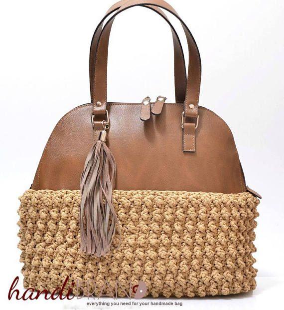 DIY Bowler Bag kit DIY crochet faux leather bag craft