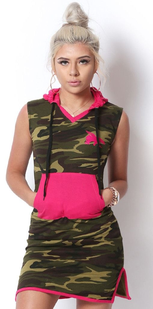 FLY. Lounging Dress: CAMO/PINK