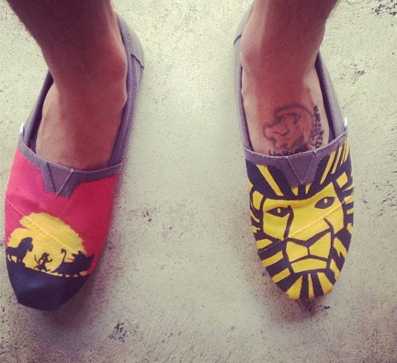Disney's The Lion King themed toms, $75.00. I absolutely LOVE these toms, the colors are great, and the detail is even better! #Toms #TheLionKing #Disney