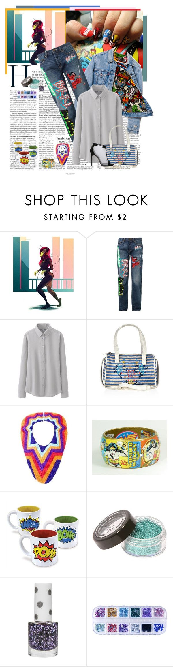 """""""Cartoon Patches"""" by feelgood35 ❤ liked on Polyvore featuring ASOS, Levi's, Marc by Marc Jacobs, Uniqlo, Monsoon, Papiroga, Topshop, Casadei, denim and Heels"""