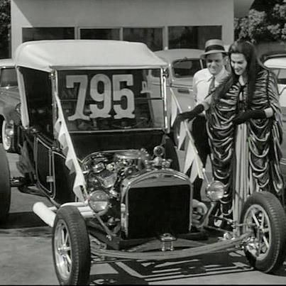 The best episode of the Munsters Herman goes drag racing and Lilly goes used car shopping and finds this vintage hot rod on the used car lot!