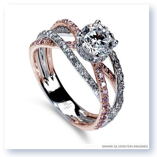 "A provocative 18K white and rose gold ""cord of three strands united"" creates a lively and memorable engagement ring. The split shank crossover design features four pink and white diamond pavé-set bands in a fusion of warmth and austerity. 2100-18kwr #MarkSilversteinImagines"