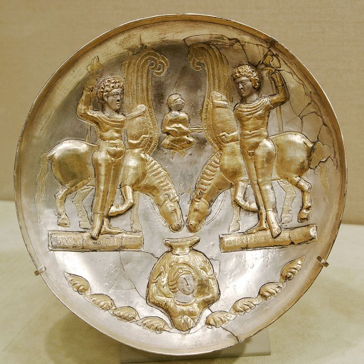 Plate with youths and winged horses, Sasanian artwork after the Graeco-Roman iconography of the Dioscuri. 5th century–6th century. Iran. Metropolitan Museum of Art