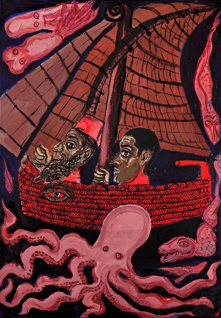 Karaghiozis on the boat      2011     oil on canvas     100 x 70 cm      Mantzavinos Tassos