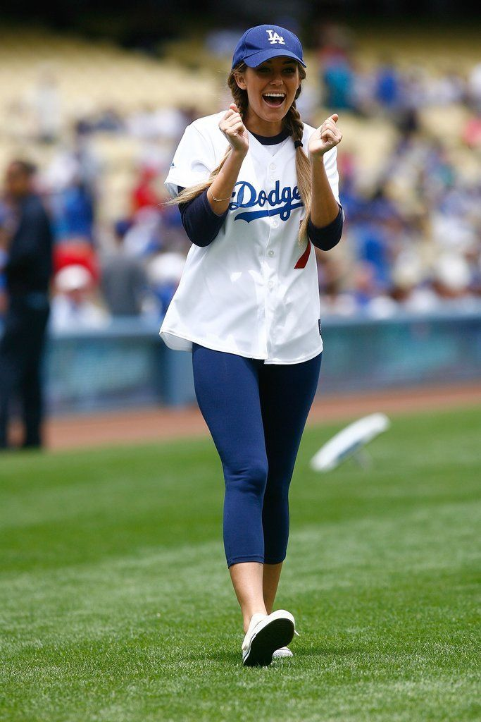 Lauren Conrad looks adorable in her classic baseball game outfit.