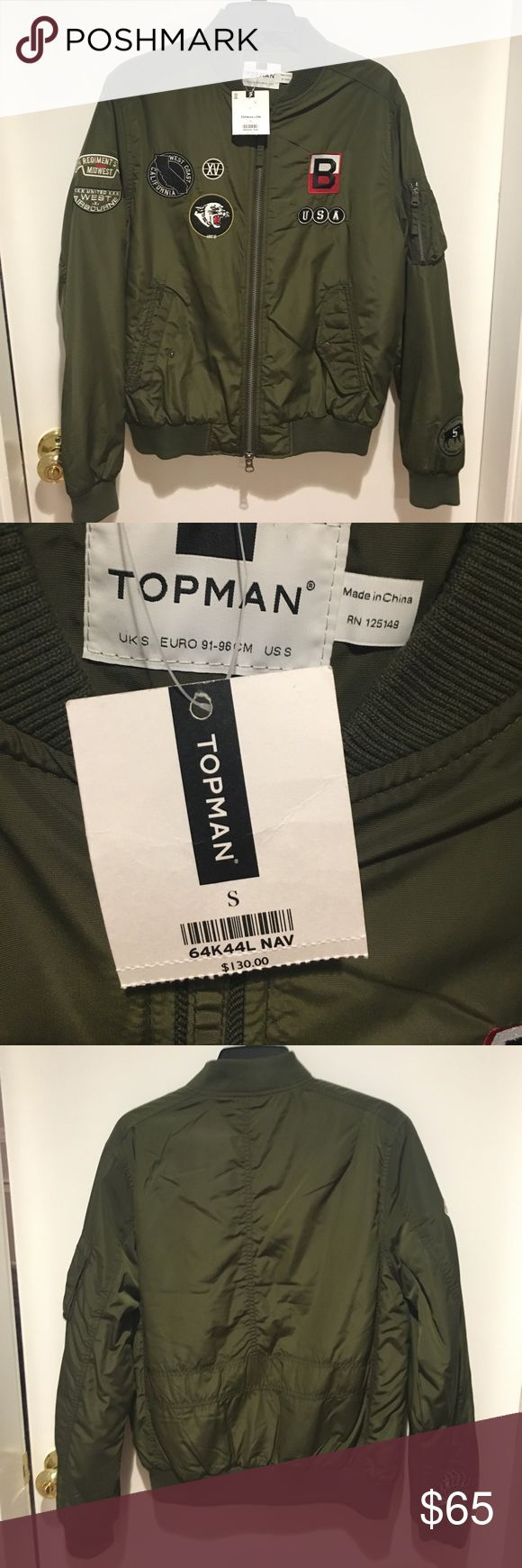 Topman Bomber Jacket Military green light weight Bomber Jacket with California inspired vintage looking patches. Never worn and with tags! Topman Jackets & Coats Bomber & Varsity