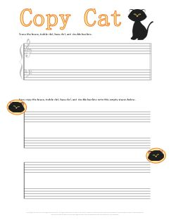 halloween worksheet for helping kids learn to draw the clefs brace and double bar line