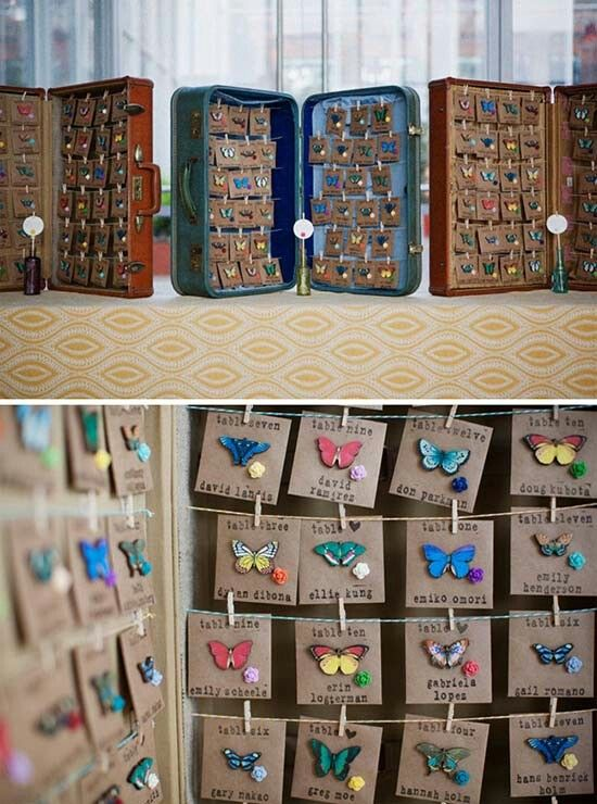 Tableau Matrimonio Con Farfalle In Valigia Vintage. Wedding Escort Card  With Butterflies. Vuoi Vedere