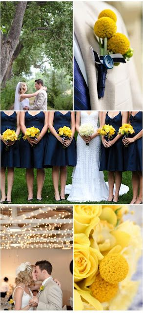 navy bridesmaids with yellow flowers