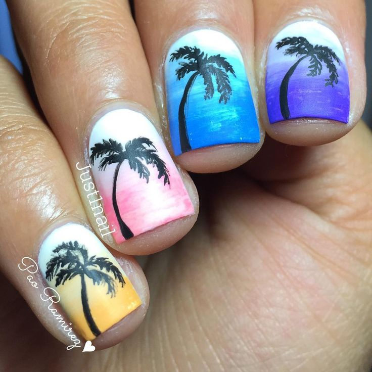 Tropical Ombre Sunset Nails With Palm Trees | Ombre ...