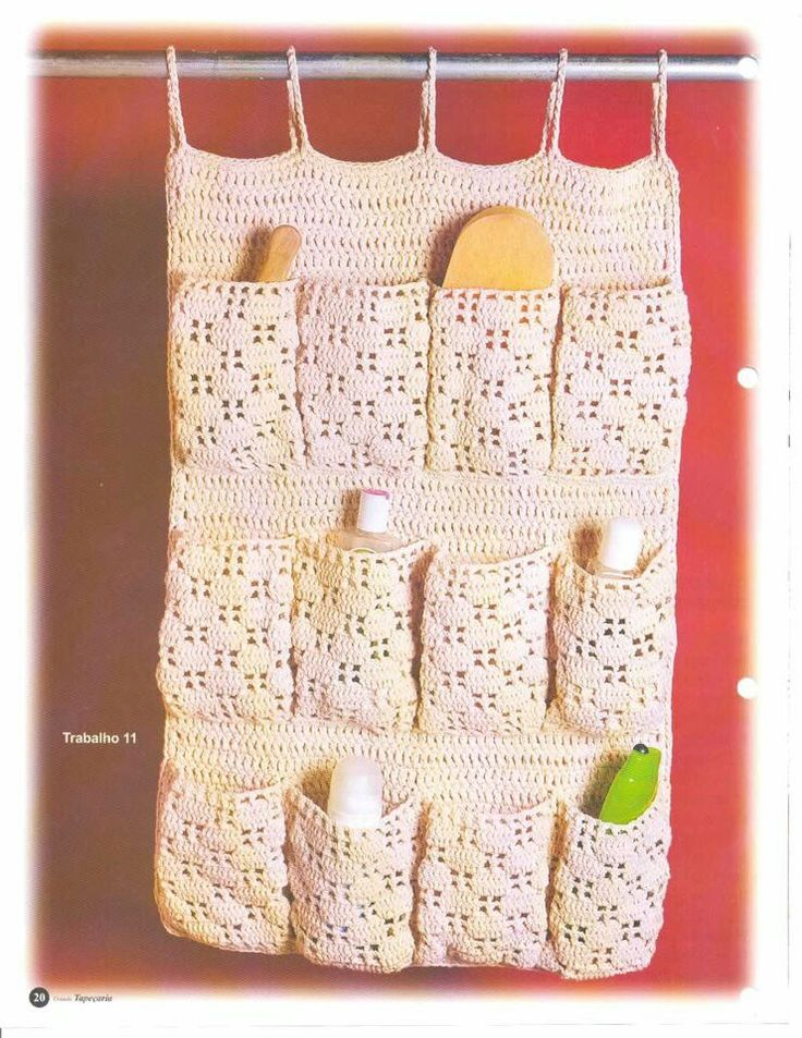 crochet hanging organizer with pockets