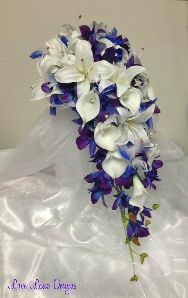 wedding bouquet singapore wispy tufts of royal blue and white feathers with white 8485