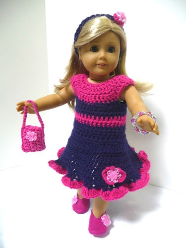 "4 American Girl 18"" Doll Clothes Set Crocheted Party Dress Ensemble 