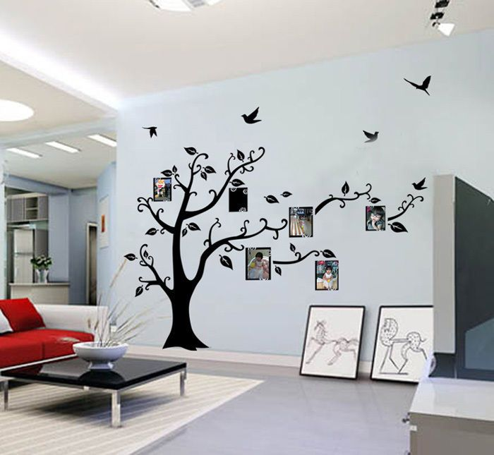 Big Huge Black Wall Decal Sticker Removable Photo Frame Tree Family Quote Branches 200*250cm. Package Including:1 * Wall Decal. How to use:1. Choose a smooth, clean and dry surface.