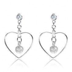 925 ezüst fülbevaló, szívkörvonal, átlátszó Swarovski kristály, csillogó golyó