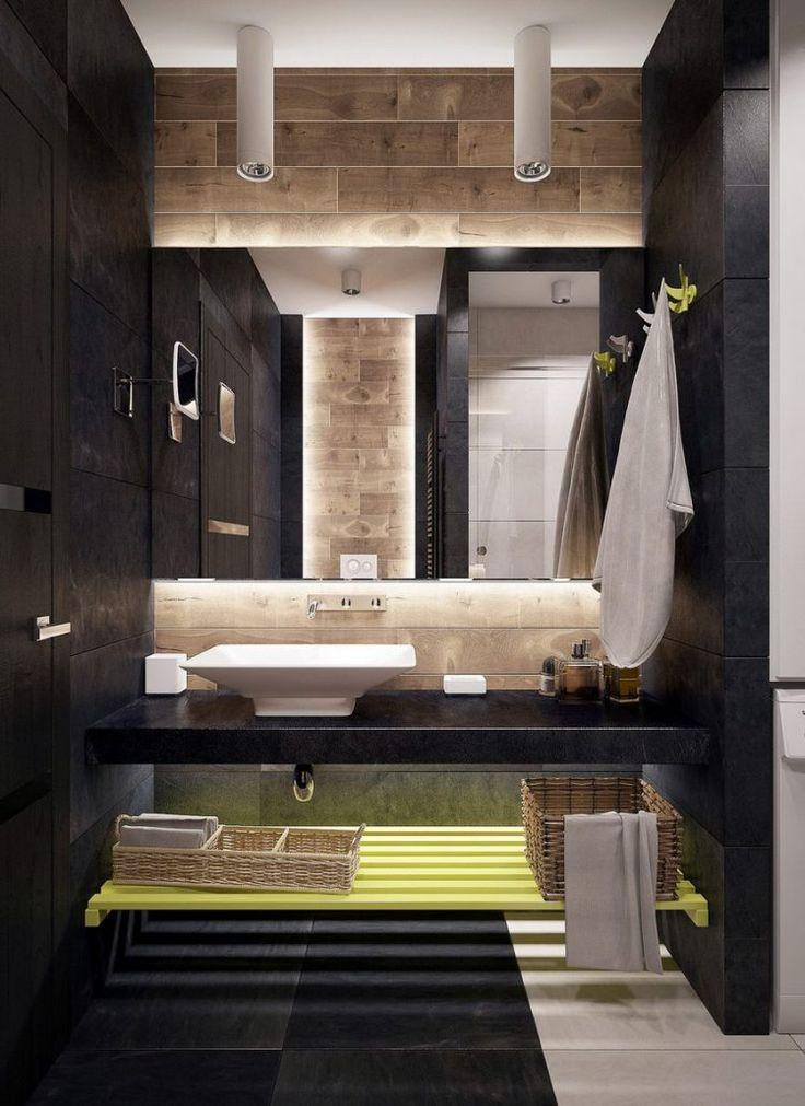 Kis fürdőszoba, elegáns, látványos berendezés - sötét, világos és fa hatású burkolatok