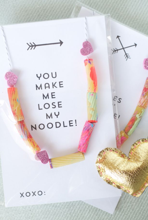 toddler valentine noodle necklace