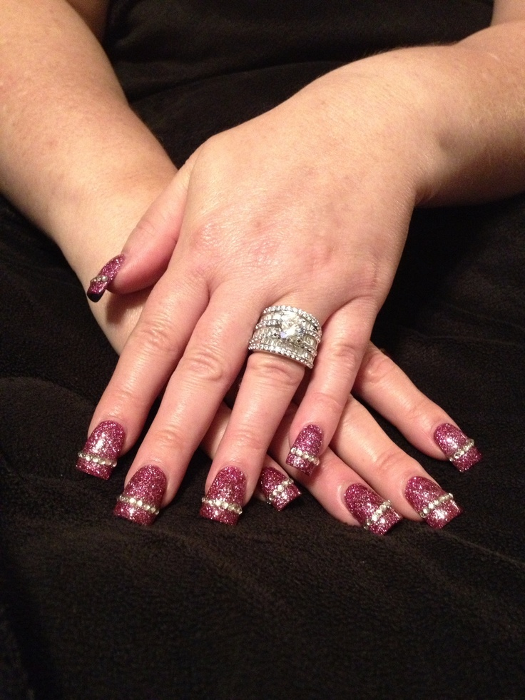 pink glitter solar nails withbling